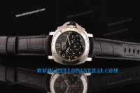 Panerai PAM196 Luminor Chrono Daylight Steel Case Black Leather Strap Asia 7753