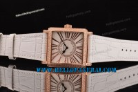 Franck Muller Master Square Rose Gold Case Diamond Bezel White Dial Swiss Quartz Ref.6002LQZ