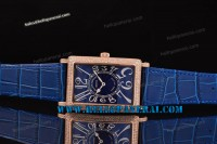 Franck Muller Long Island Rose Gold Case Diamond Bezel Blue Dial Swiss Quartz Ref.1200SCRELD