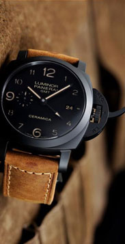 vary rare ceramic Panerai replica watch with gmt function